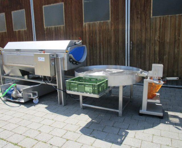 Gemüsewaschmaschine mit Sortierung und Absackung